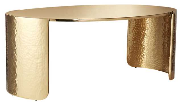 cuff hammered gold coffee table - CB2