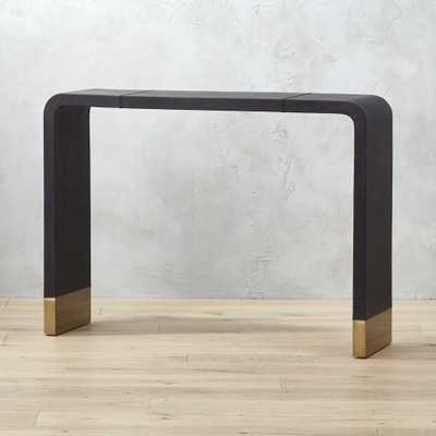 Tyler Leather Console Table With Stitch Detail - CB2