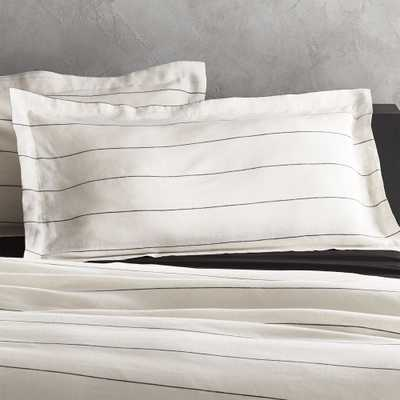 Set of 2 Linen Pinstripe King Shams - CB2