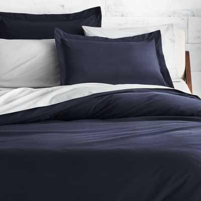 Brushed Navy Blue Flannel Full/Queen Duvet Cover - CB2