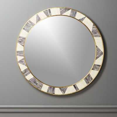 Grace Bone Inlay Round Wall Mirror 32 - CB2