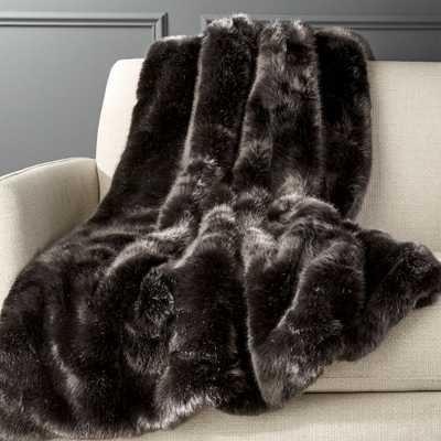 Premium Grey Faux Fur Throw - CB2