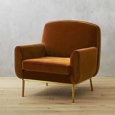 Halo Copper Velvet Armchair - CB2