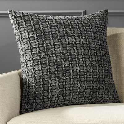 """20"""" Black Stonewash Pillow with Down-Alternative Insert"" - CB2"
