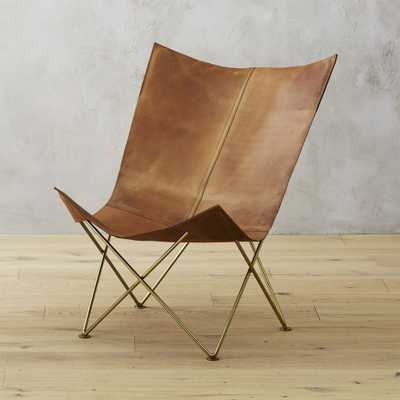 Brown Leather Butterfly Chair - CB2