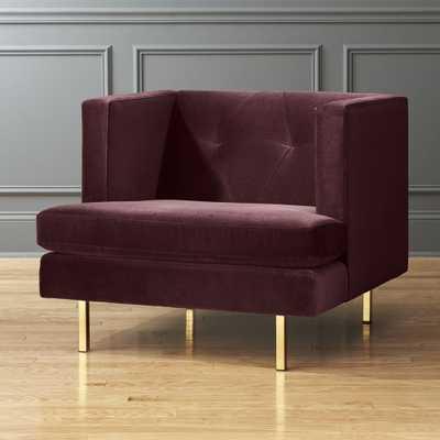 Avec Bergamot Purple Chair with Brass Legs - CB2