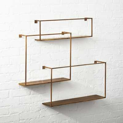 Antiqued Brass Floating Shelves Set of 3 - CB2