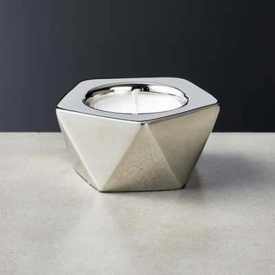 Gami Silver Tea Light Candle Holder - CB2