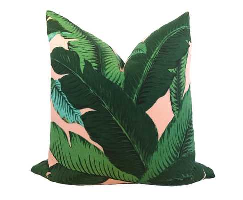"Blush Palm Leaf Pillow Cover - 20"" x 20"" - insert not included - Willa Skye"