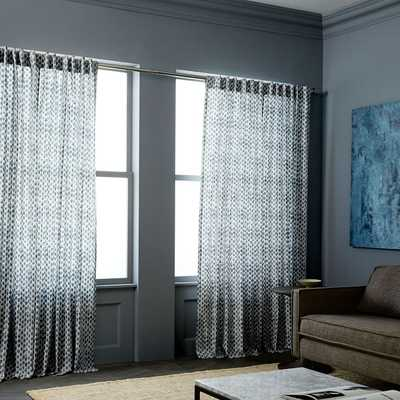Cotton Canvas Stamped Dots Curtains (Set of 2) - Shimmer - West Elm