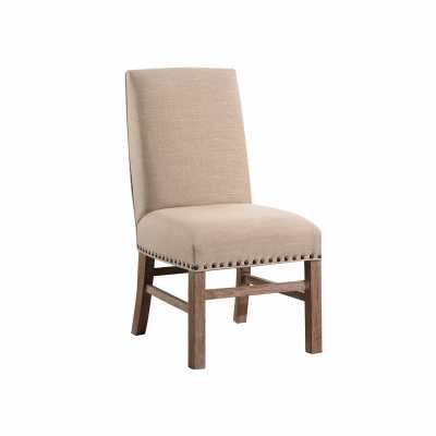 FRENCH VINTAGE WHEAT NAILHEAD-TRIM DINING CHAIR - Abbyson Living