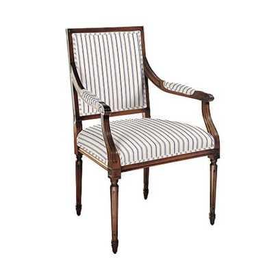 Square Back Louis XVI Armchair - Vintage Ticking Stripe Navy - Walnut - Ballard Designs