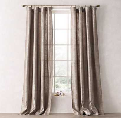 "METALLIC OPAQUE LINEN DRAPERY PANEL - Taupe/Silver - 96"" - RH Teen"