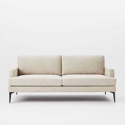 """Andes 76.5"""" Sofa - Twill Stone, Pewter Legs - West Elm"""