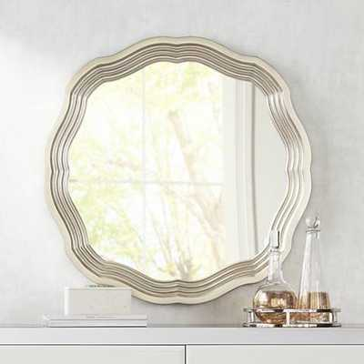 "Dara Silver 32 1/2"" x 32 1/2"" Scalloped Wall Mirror - Lamps Plus"