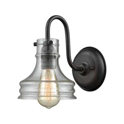 Binghamton 1 Light Wall Sconce In Oil Rubbed Bronze With Clear Glass - Rosen Studio