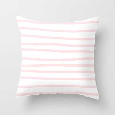 Simply Drawn Stripes in Pink Pillow - Society6
