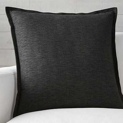"Linden Ebony 23"" Black Pillow with Feather-Down Insert - Crate and Barrel"