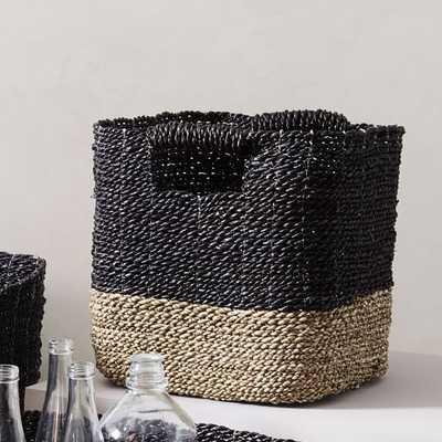 Two-Tone Woven Storage Basket, Black/Tan - West Elm