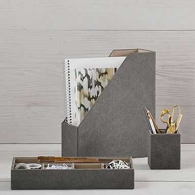 Fabric Desk Accessories, Northfield Solid Charcoal-3 pc set - Pottery Barn Teen
