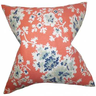 """Danique Floral Pillow Coral - 18"""" x 18"""" - Down Insert - Linen & Seam"""