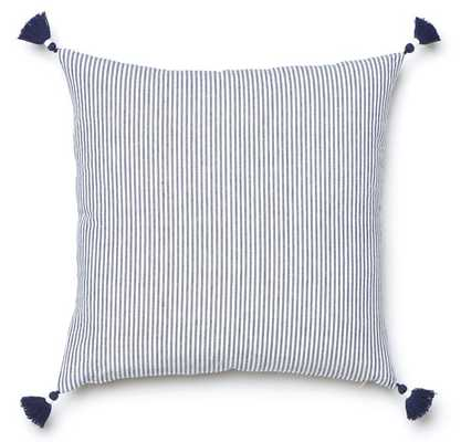 NAVY FRENCH STRIPE PILLOW- 20'' x 20''- insert not included - Caitlin Wilson