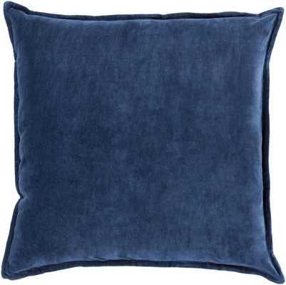 "Cotton Velvet Navy Pillow - 20''x 20""- Poly Insert - art.com"