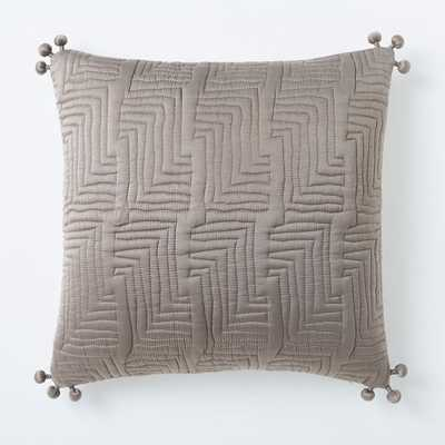"""Washed Silk Quilted Pillow Cover, Taupe, 18""""x18"""" - West Elm"""