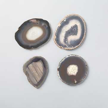 Agate Coaster, Set of 4, natural gold - West Elm