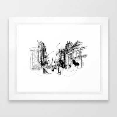 "FRAMED ART PRINT VECTOR WHITE SMALL - Alchemy Sketch - City - 10""x 12"" - Vector White Frame  with mat - Society6"