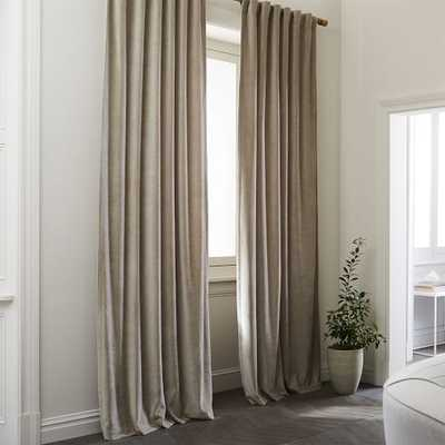 "Textured Upholstery Velvet Curtain, Light Taupe 48"" x 108"", unlined - West Elm"