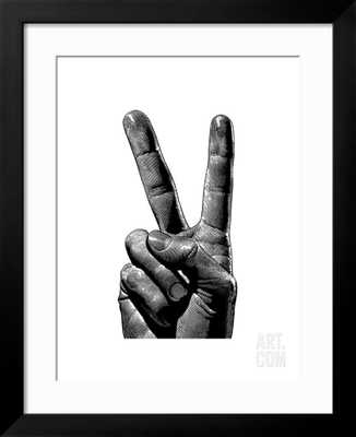 HAND WITH TWO FINGERS RAISED- UNFRAMED - art.com