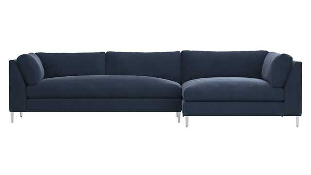 decker 2-piece blue velvet sectional sofa, como - indigo - CB2