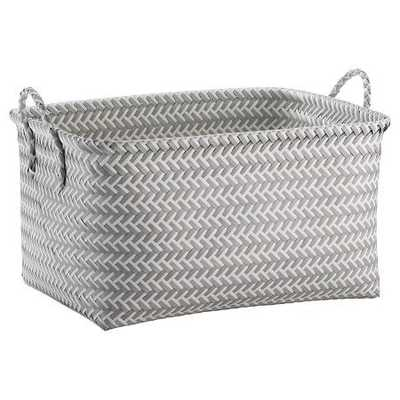 Large Woven Rectangular Storage Basket - Grey and White - Target