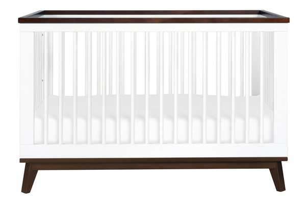 Scoot-3-in-1 Convertible Crib with Toddler Bed Conversion Kit - White with Walnut - Babyletto