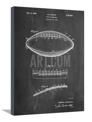 "FOOTBALL GAME BALL PATENT- 20"" x 26.5"" Stretched Canvas Print - art.com"