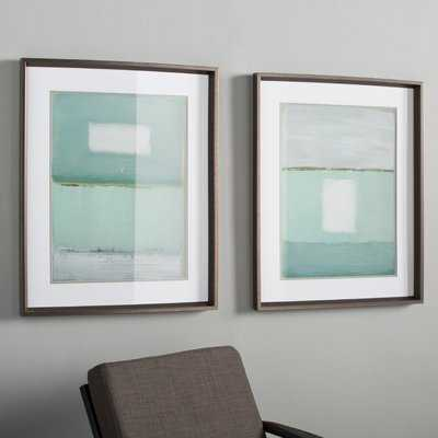 Azure Blue 2 Piece Framed Painting Print Set - Birch Lane