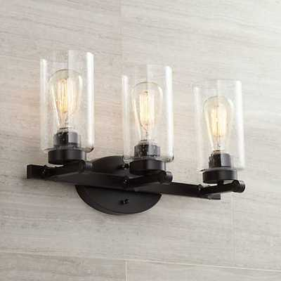 "Holman Bronze 3-Light 19 1/2"" Wide Industrial Bath Light - Lamps Plus"