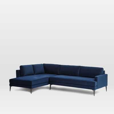 "Andes Terminal Chaise Sectional - Ink Blue Performance Velvet - Large (96.5"" w) Right Arm - West Elm"