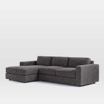 Urban 2-Piece Chaise Sectional - Small (Left Chaise), Heathered Tweed Charcoal - West Elm