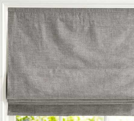 "EMERY LINEN/COTTON CORDLESS ROMAN SHADE; GRAY 32""x64"" - Pottery Barn"
