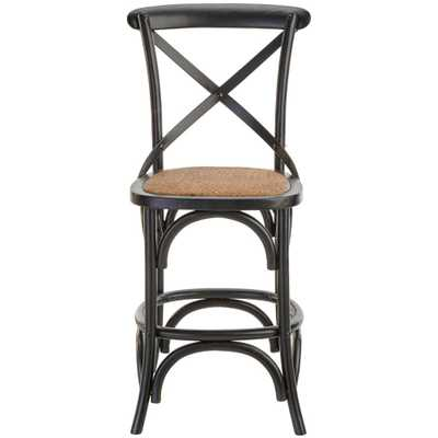 Hyde Cafe 24 in. Black Counter Stool with Back and Cane Seat - Home Depot