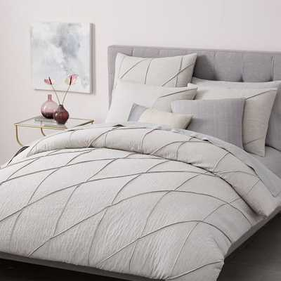 Organic Pleated Grid Duvet Cover - West Elm
