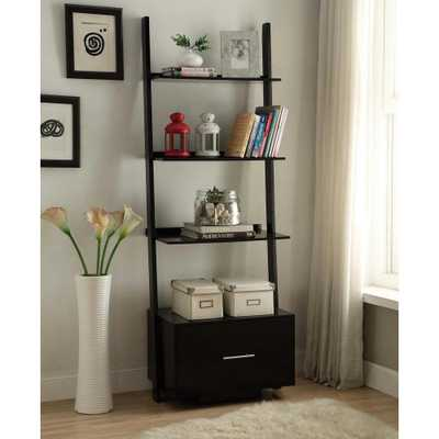 American Heritage Black Ladder Bookcase with File Drawer - Home Depot