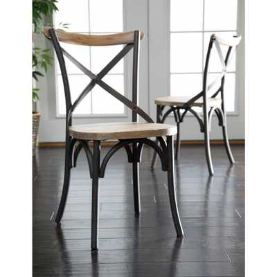 Brown Wood and Metal Dining Chair (Set of 2) - Home Depot