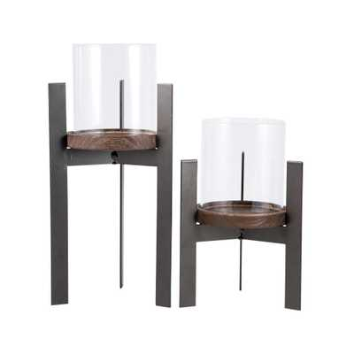 Stratton 11 in. and 8 in. Rustic Iron, Natural Wood and Clear glass Candle Holders (Set of 2), Browns/Tans - Home Depot