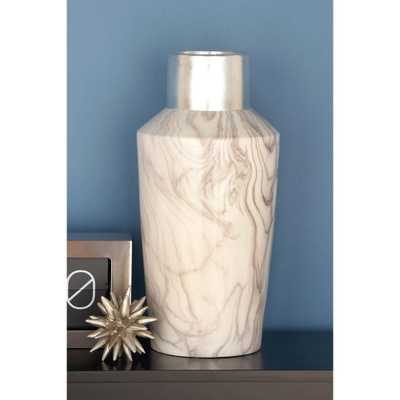 18 in. Silver and Gray Marble Paneled Decorative Bottle-Shaped Vase, Multi - Home Depot