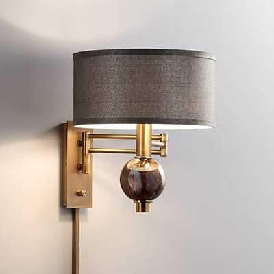 Richford Polished Brass Plug-In Swing Arm Wall Lamp - Lamps Plus