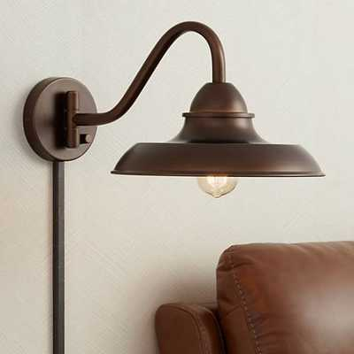 "Bowdon Bronze 10""H Indoor Plug-In Sconce with Edison Bulb - Lamps Plus"