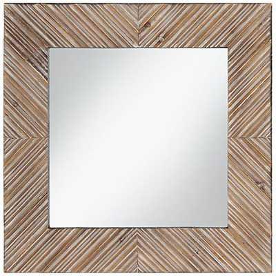 "Reyes Natural Wood Slat Pattern 24"" Square Wall Mirror - Lamps Plus"